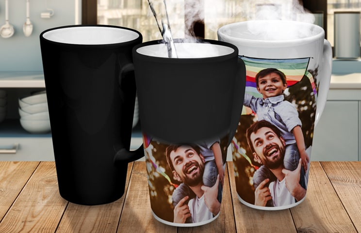large personalised latte mug by Printerpix with photo of dog and mom on