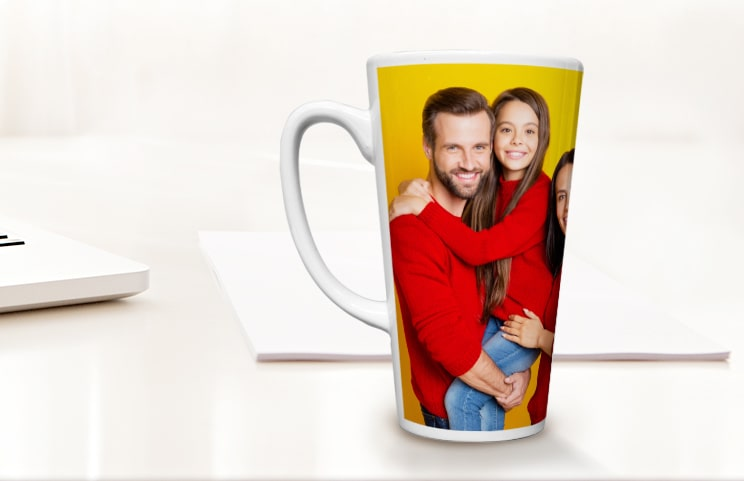 Printerpix Personalised large latte mug with love heart and photo of couple kissing