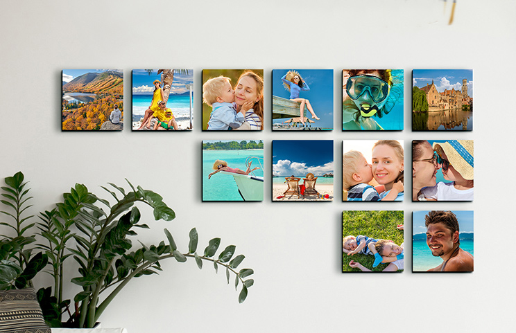 Young boy reaching for cookie jar next to Printerpix custom photo prints of family