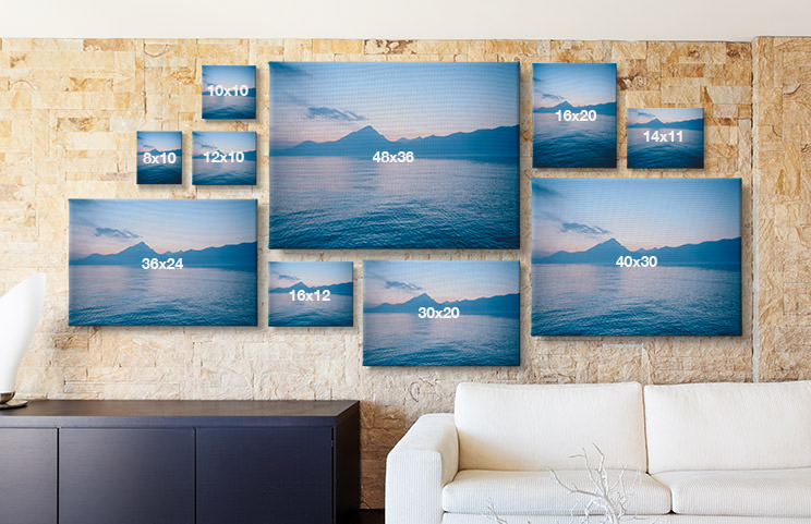 Living room with custom photo canvas of different sizes available