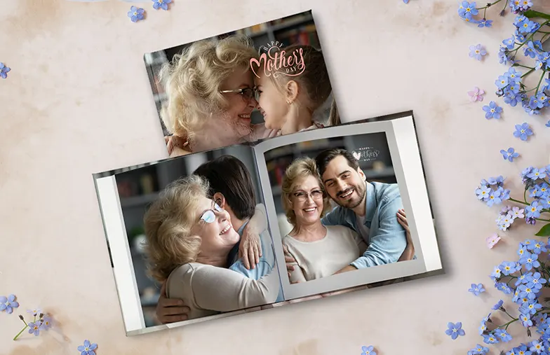 Custom printed photo book with romantic pictures of a couple and photo cover