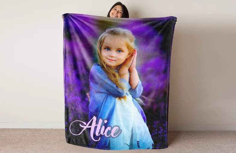 Large custom mink touch blanket on double bed with picture collage of family photos
