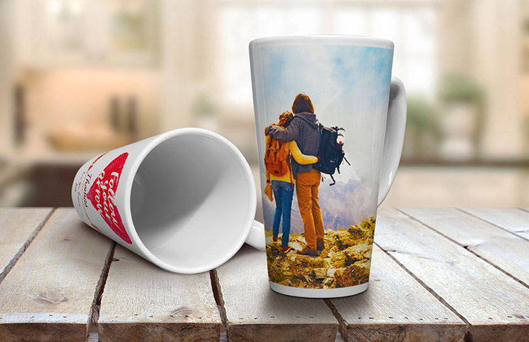 Two custom made latte mugs with own photos on of couple and text with quote