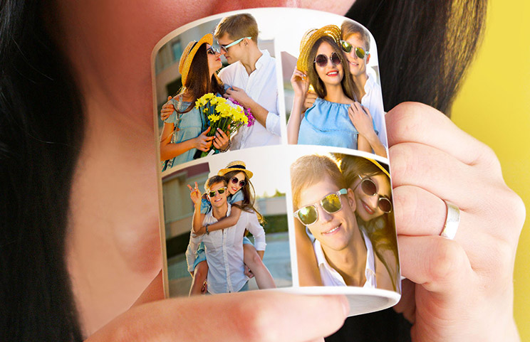 Close up of mug with picture collage of photos of a young couple