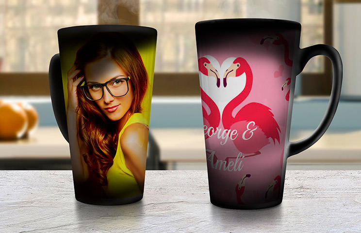 Two large coffee mugs with custom text and personalised photos