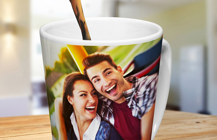 Coffee mug with photo of young couple printed on it