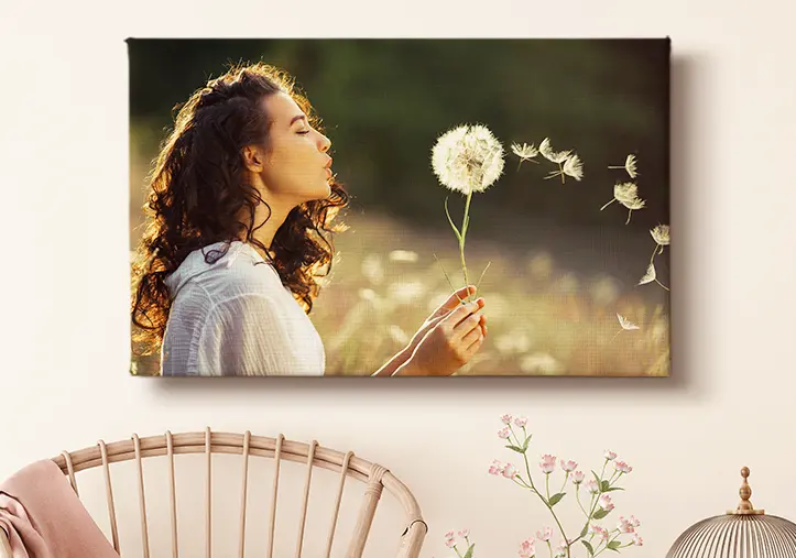 Photo collage of eight custom canvas prints of family photos and holiday scenes