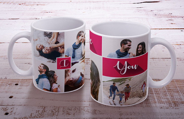 Two custom photo mugs with romantic and family themed pictures and text